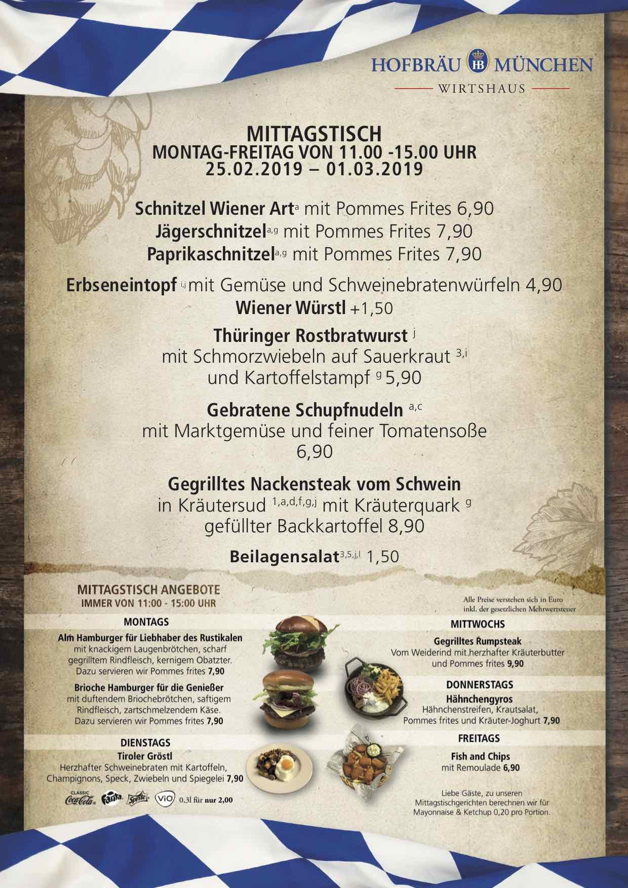 Lunch Menu Hofbräu Tavern