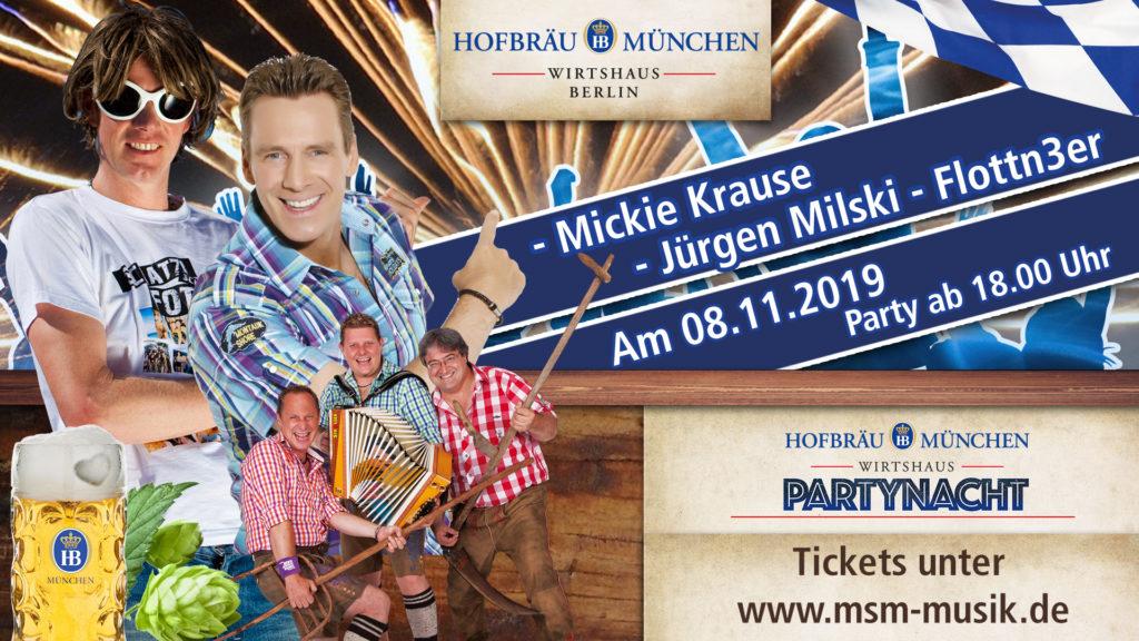 Party Nacht Berlin mit Mickie Krause, Axel Fischer und Flottn3er