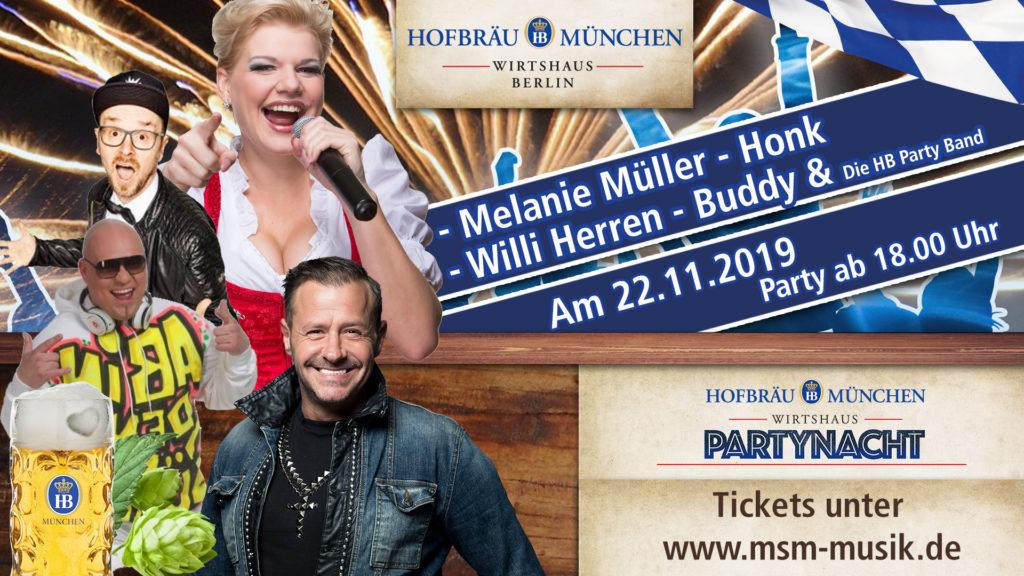 Pary Nacht Berlin Isi Glück, Melanie Müller, Willi Herren, Buddy & HONK