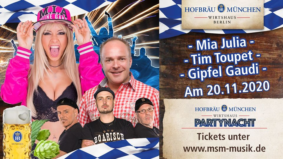 Party Nacht Berlin mit Mia Julia, Tim toupet, Gipfel Gaudi