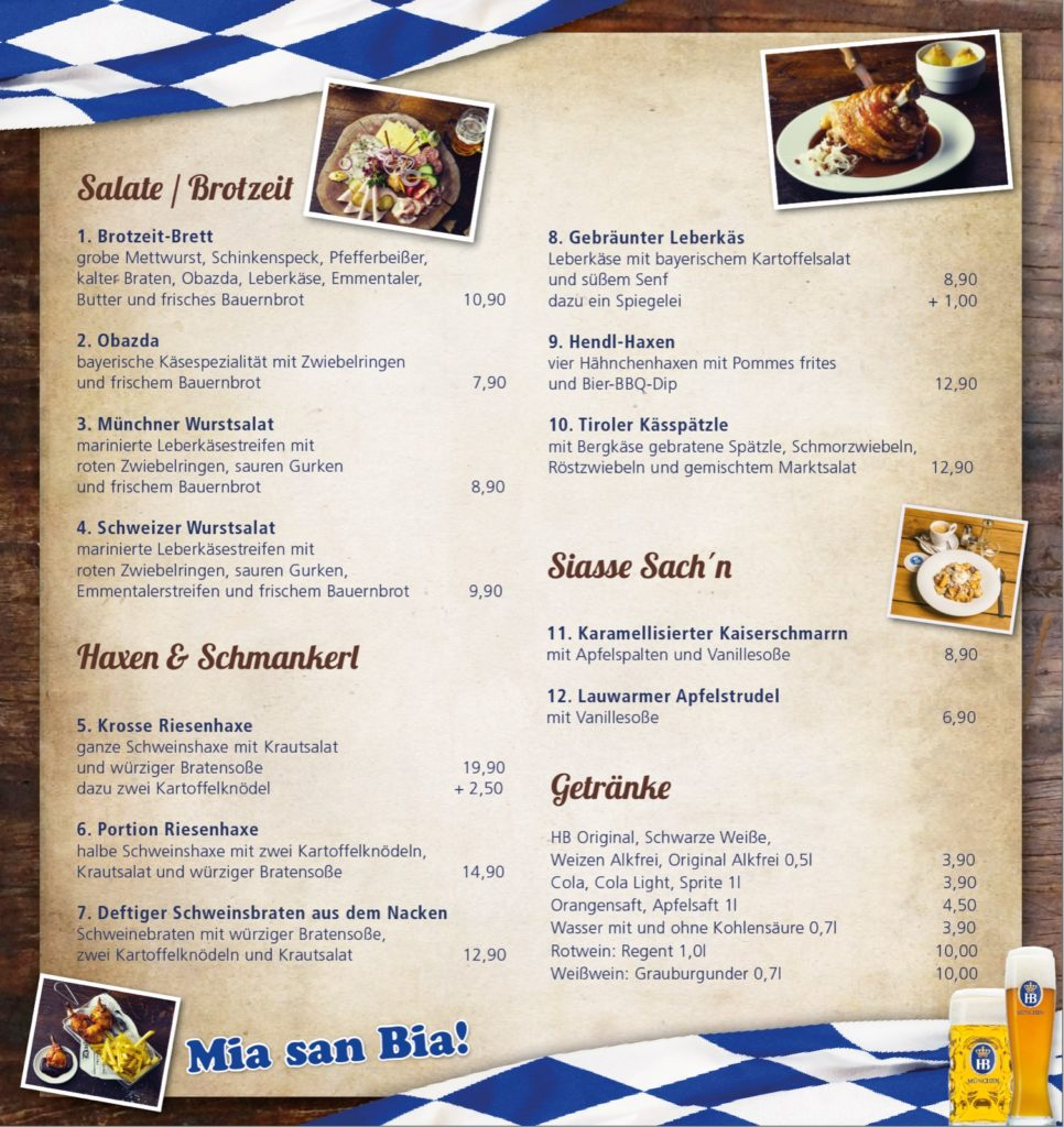 Hofbräu menu bezorging