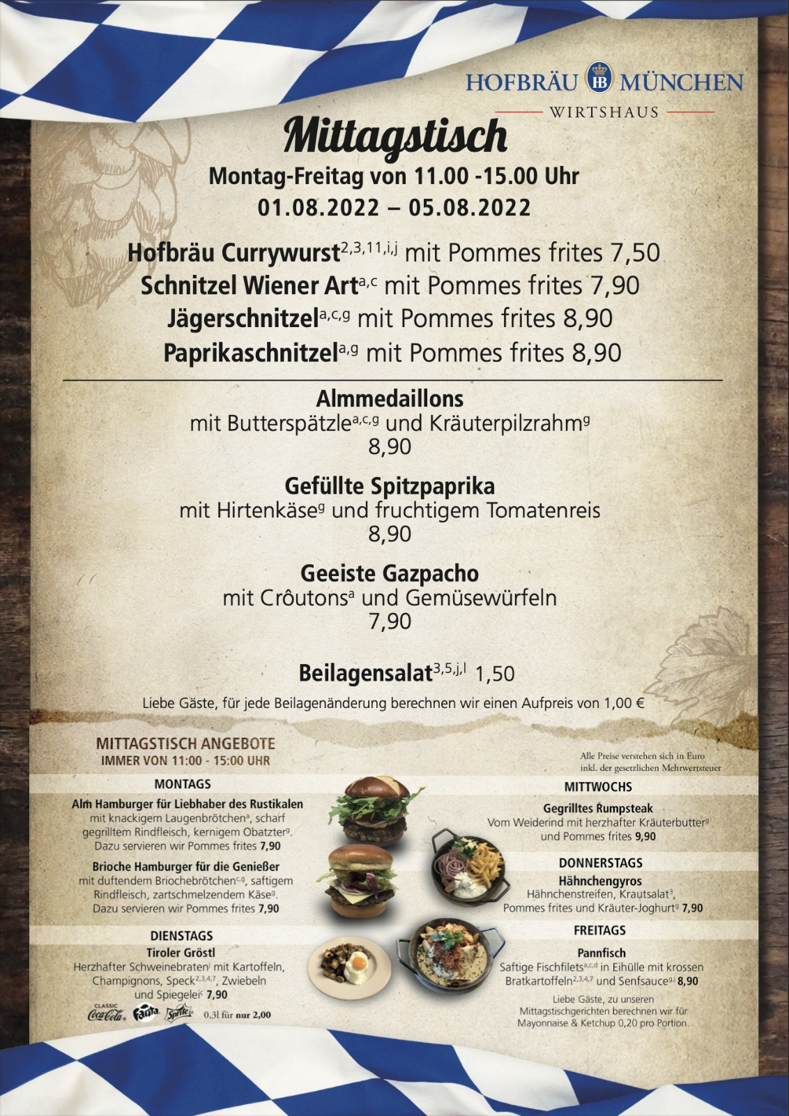 Hofbräu lunch menu